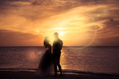 Couple on Beach at Sunset Royalty Free Stock Image