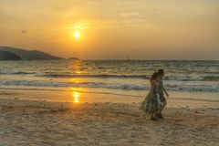 Couple on the beach. In thailand Stock Photo
