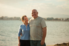 Couple on  beach in time of  sunset Stock Image