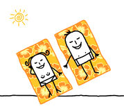 Couple on beach towels royalty free illustration