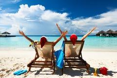 Couple on a beach. Couple on a tropical beach at Maldives stock photography