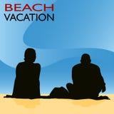 Couple Beach Vacation royalty free illustration
