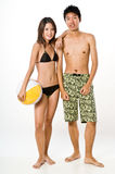 Couple in Beachwear Stock Photo