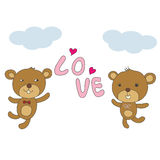 Couple bear happy with love and pink hearts and blue sky vector Stock Photos