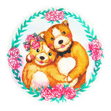 Couple bears flower wreath celebration watercolor painting royalty free illustration