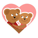 Couple of bears hugging. Vector illustration of Valentine s day congratulation card. Stock Images