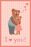 Couple of bears hugging. Vector illustration of Valentine s day congratulation card. Stock Photography