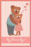 Couple of bears hugging. Vector illustration of Valentine s day congratulation card. Royalty Free Stock Images