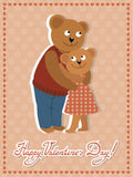 Couple of bears hugging. Vector illustration of Valentine s day congratulation card. Royalty Free Stock Photo