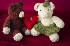Couple Bears and love heart on Valentines Day. Royalty Free Stock Photo