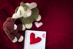 Couple Bears and love heart on Valentines Day. Stock Photography