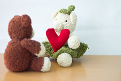Couple Bears and love heart on Valentines Day. Royalty Free Stock Photography