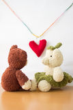 Couple Bears and love heart on Valentines Day. Stock Photos