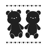 A couple of bears. Silhouette pairs of teddy bears royalty free illustration