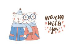 A couple of bears wrapped in one scarf. Hand drawn vector illustration of a couple of cute funny bears in coats, holding hands and wrapped in one scarf, with Stock Photography