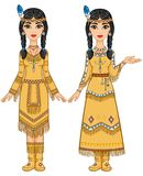 Couple of beautiful animation girls in clothes of the American Indians in different poses. Royalty Free Stock Photos