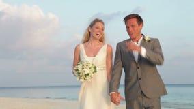 Couple At Beautiful Beach Wedding stock video