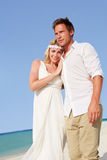 Couple At Beautiful Beach Wedding Stock Photo
