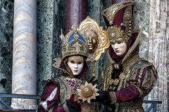 Couple with beautiful Carnival Masks at Carnival of Venice Royalty Free Stock Photo