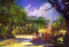 Couple in beautiful place,walkway in park. Illustration painting Royalty Free Stock Photo