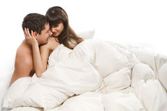Lovers in bed Royalty Free Stock Images