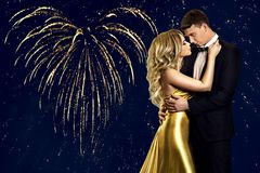 Couple Beauty Portrait over heart fireworks, Kissing Woman Man stock photos
