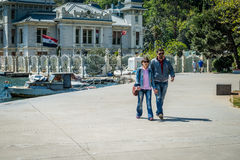 Couple in the Bebek coast in Istanbul, Turkey Royalty Free Stock Photos