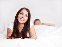 Couple on the bed Stock Photo
