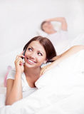 Couple on the bed Stock Image