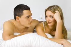 Couple in the bed Stock Photography