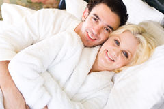 Couple in bed Royalty Free Stock Photos