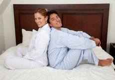 Couple on the bed Stock Images