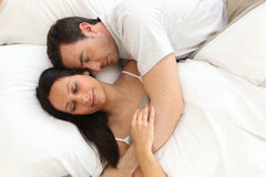 Couple in bed asleep Royalty Free Stock Images