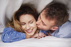 Couple at the bed Stock Image