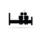 Couple on bed icon vector Stock Photography