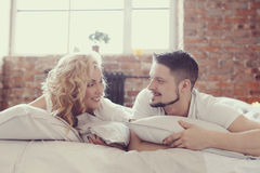 Couple in bed. Lifestyle. Beautiful couple in bed Stock Photo