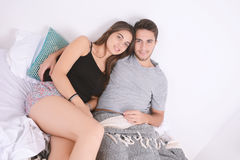 Couple in bed. Stock Photos
