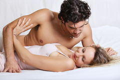 Couple bed problems Stock Photo