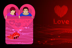Couple in the bed. red background. Valentine s Day Stock Photos