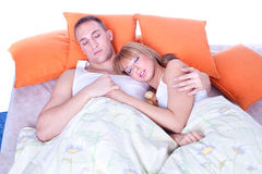 Couple in bed  sleeping Royalty Free Stock Photography
