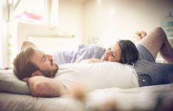 Couple in bed. royalty free stock photo
