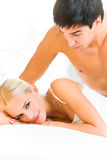 Couple at bedroom royalty free stock image