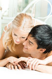 Couple at bedroom Royalty Free Stock Images
