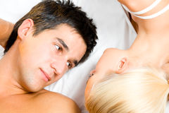 Couple in bedroom Royalty Free Stock Images