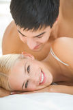 Couple at bedroom. Young happy couple at bedroom Stock Photo