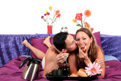 Couple, bedroom breakfast Royalty Free Stock Photo