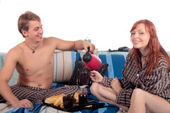 Couple, bedroom breakfast Royalty Free Stock Photos