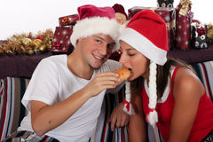 Couple bedroom breakfast Xmas Royalty Free Stock Image
