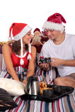 Couple bedroom breakfast Xmas Royalty Free Stock Photos