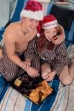 Couple bedroom breakfast Xmas Royalty Free Stock Photography